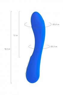 Нереалистичный вибратор L'EROINA by TOYFA Blury, 10 режимов вибрации, силикон, синий, 18,5 см, Ø 3,4