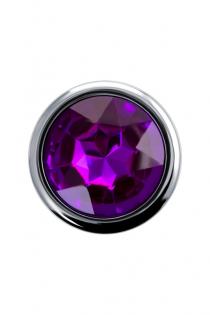 Анальная втулка Штучки-дрючки, металл, серебристая, с кристаллом, фиолетовый, 9,5 см, Ø 3,5 см, 130