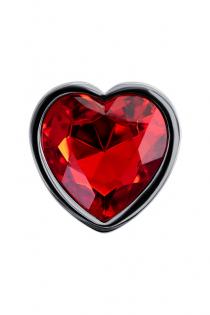 Анальный страз Штучки-дрючки, металл, серебристый, с кристаллом цвета рубин, 7 см, Ø 2,7 см, 50 г