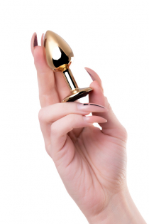 Анальный страз Штучки-дрючки, металл, золотистый, с кристаллом цвета турмалин, 7 см, Ø 2,8 см, 50 г