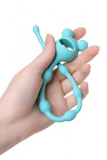Анальная цепочка Штучки-Дрючки, силикон, голубой, 28 см