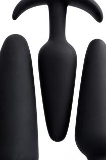Набор анальных втулок TOYFA POPO Pleasure Eridani, силикон, черный, 3  шт.