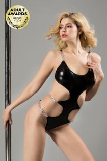 Боди с металлическими цепочками Candy Girl Selene черное, OS