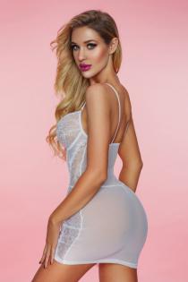 Комбинация и стринги Candy Girl Phoebe белые, XL