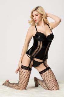 Корсет, стринги и чулки Candy Girl Serena черные, XL