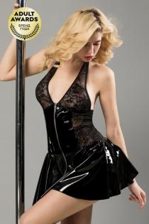 Платье лаковое на молнии и стринги Candy Girl Harlow черные, OS