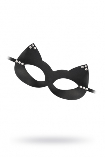 Маска Штучки-дрючки «Кошка» с заклепками, кожа, черная