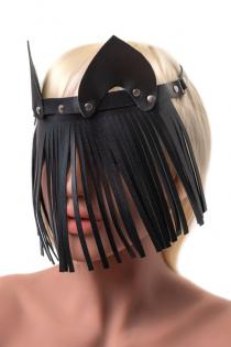 Маска Штучки-дрючки «Кошка с бахромой», кожа, черная