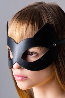 Маска Штучки-дрючки «Кошка», кожа, черная