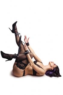 Бандажный набор 4 точки фиксации Pecado BDSM (распорка, наручники, оковы), натуральная кожа, черный