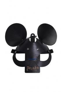 Маска с ушками мышки Pecado BDSM, натуральная кожа, черный