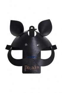 Маска с ушками кошки Pecado BDSM, натуральная кожа, черный
