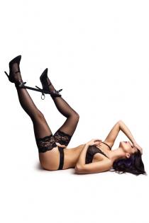 Бандажный набор 3 точки фиксации Pecado BDSM (распорка, оковы), натуральная кожа, черный
