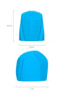 Насадка Magic Wand Genio для массажера Europe, силикон, синяя, 4.1 см
