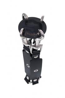 Крестик с карабинами Pecado BDSM для фиксации рук и ног, натуральная кожа, черный