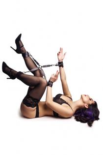 Набор для фиксации рук и ног Pecado BDSM (крест, наручники, оковы), натуральная кожа, черный