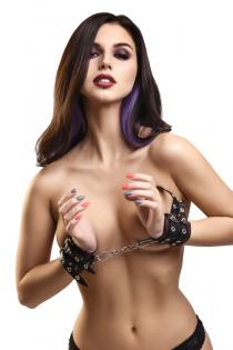 Наручники с двумя ремнями и черной подкладкой Pecado BDSM, натуральная кожа, черные