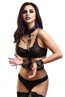 Сбруя для фиксации шеи и рук Pecado BDSM, натуральная кожа, черная