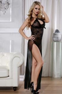 Платье Candy Girl длинное, с высоким разрезом, черное, OS