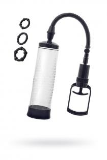 Помпа для пениса Sexus Men Erection, вакуумная, механическая, ABS пластик, черный, 23 см