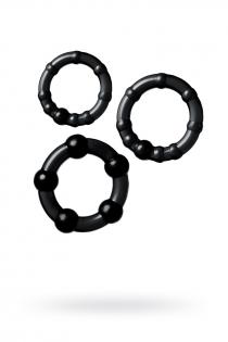 Набор колец TOYFA A-toys, TPE, Черные, Ø 3,5/3/2 см