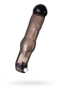 Насадка ToyFa XLover, для увеличения размера с вибрацией,TPE, черная прозрачная, 19,4 см