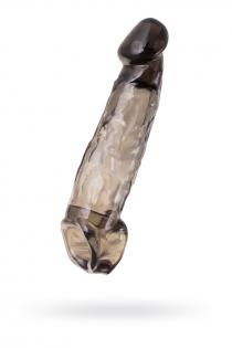 Насадка Toyfa XLover, для увеличения размера, TPE, черная прозрачная, 19.5 см