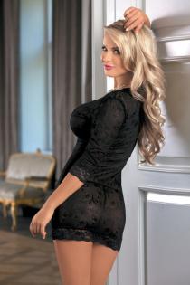 Ночная сорочка Candy Girl с длинным рукавом и стринги, черные, OS