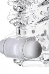 Насадка на пенис TOYFA A-Toys с вибропулей, TPR, прозрачная, 13,4 см