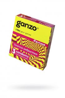 Презервативы Ganzo Extase, с точечно-ребристой поверхностью, анатомической формы, латекс, 18 см, 3 шт