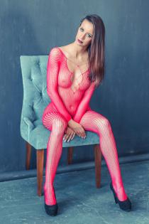 Чулок на тело с рукавами, розовый