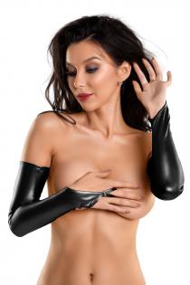 Перчатки-митенки Glossy из материала Wetlook выше локтя, черный, M