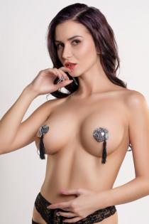 Пэстис Erolanta Lingerie Collection в форме сердец с кисточками серебристо-черные