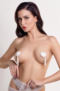 Пэстис Erolanta Lingerie Collection в форме сердец с кисточками однотонные белые