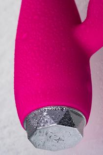 Вибратор с клиторальным стимулятором L'EROINA, силикон, розовый, 17 см