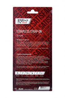 Безремневой страпон Black & Red by TOYFA с вибрацией, влагостойкий, силикон, красный, 35 см