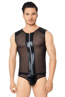 Костюм-сетка на замочке мужской SoftLine Collection (майка, трусы), чёрный, XL