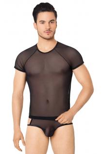 Костюм-сетка с вырезами по бокам мужской SoftLine Collection (майка, шорты), чёрный, M/L