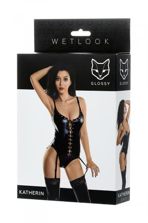 Боди Glossy из материала Wetlook на шнуровке, черный, S