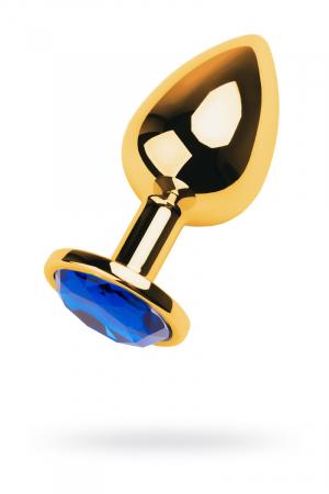 Анальная втулка Metal by TOYFA, металл, золотистая, с кристаллом цвета сапфир, 9,5 см, Ø 4 см, 145 г