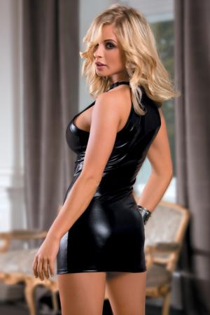 Платье Candy Girl c прозрачным бюстом, wetlook, черное, OS